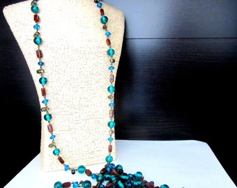 Extra Long Venetian Glass Bead Flapper Necklace Intense Blue & Brown Colors Single Strand Metal Strung 70 Inches