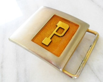Vintage Lee P Initial Silver and Resin Belt Buckle