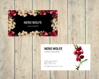 Biglietto da visita personalizzato design floreale orchidee / stampabile con Vistaprint / strumenti professionali per branding / botanica