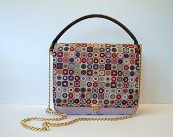 Handbag, Shoulderbag, Crossbody-bag, pink, multicolor, with chain