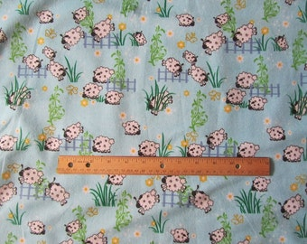 Blue Sheep Jumping Fences Flannel Fabric by the Yard