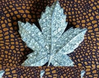 Sparkly Paste Rhinestone Leaf Brooch