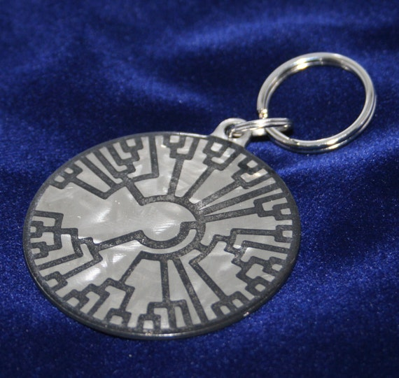 Shiny Brushed Phylogenetic Tree Circle Charm Medallion for Key chain or Necklace - Circle of Life Key chain