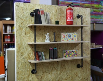 Industrial design bookcase shelf office living room steel beech wood