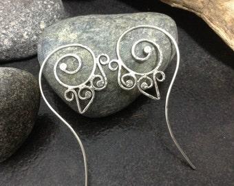 Fancy sterling silver spiral threader earrings, Celtic spiral, soldered metalwork, unique design