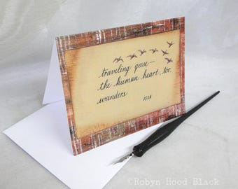 Issa Haiku Note Cards Traveling Geese package of 8