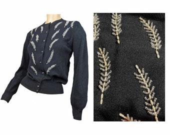 Vintage 50s Sweater Beaded Design Black Ban Lon Wheat Design Gold Beads 38 Bust