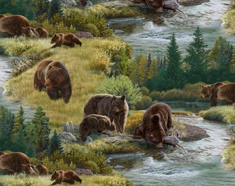 Grizzly Bears - North American Wildlife Collection - Elizabeth's Studio 5013-GREEN (sold by the 1/2 yard)