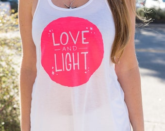 Blacklight Yoga Love and Light Tank Top | Glow Yoga Shirt | Glow in the Dark Top | Mantra Tank | Spiritual Clothing | Inspirational Top