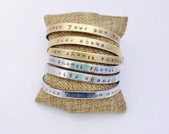 Om Shanti Cuff Bracelet - Hand Stamped - Inspirational Mantra Bracelet - Yoga Jewelry - Peace - Namaste
