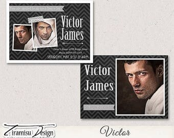ON SALE 7x5 Senior Graduation Announcement Card Photoshop Template - Victor
