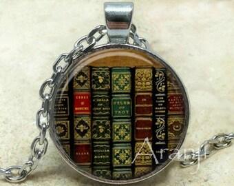 Book pendant, book necklace, book jewelry, bookshelf necklace, bookshelf pendant, gift for bookworm Pendant#HG240P