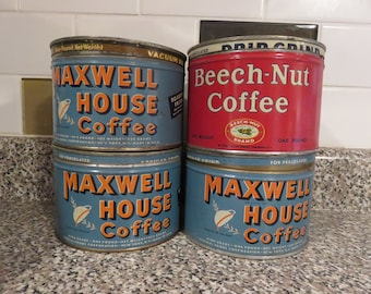 Vintage Round Coffee Tins/ 3 Maxwell House/ 1 Beech-Nut Coffee