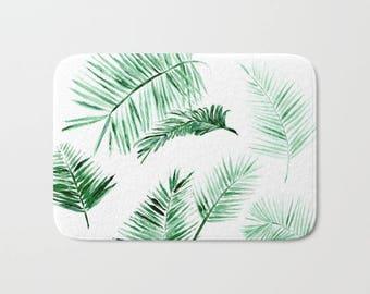 Palm Leaf Bath Mat, palm bath mat, leaf bath mat, leaves bath mat, palm leaf mat, palm leaves mat, tropical bath mat