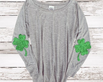 96e56bfb St Patricks Day Shirt Sequin Four Leaf Clover Shamrock Elbow Patch Slouchy  Pullover Womens Sequin Elbow
