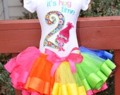 Poppy Pink Rainbow Birthday Outfit Ribbon trim tutu, Embroidered Shirt