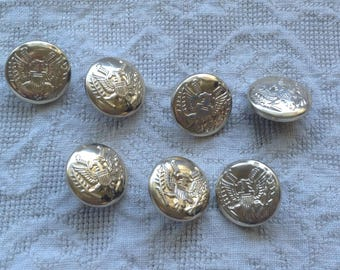 Gold eagle buttons / set of 7 vintage buttons / sewing supply crafts / military style buttons / gold eagle crest buttons