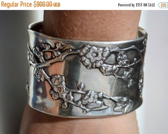 SALE 40% OFF Wang Hing Antique Chinese Export Plum Blossom Floral Flowers Art Nouveau Solid Sterling Silver 925 Repurposed Wide Cuff Bracele