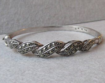 "Vintage 1980's Sterling Silver & Marcasite Braided Hinged Bangle 6 1/2"" Bracelet"