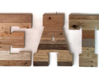 rustic kitchen eat wood letters word reclaimed pallet wood restaurant sign pallet letters rustic home decor kitchen decor 16 x 12