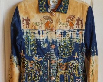 Vintage womens boho jacket, Sandy Starkman, size small made in India, 100% tie dye denim jacket, boho chic jacket, tie dye, hippie