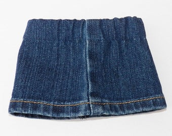 "bitty baby clothes, boy, girl, or 15"" twin, blue jean denim skirt, 2 choices, shorter length or longer length, handmade adorabledolldesigns"