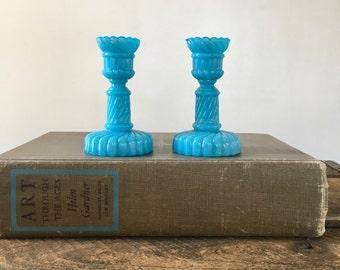vintage Portieux Vallerysthal mini candlesticks aqua blue pair of 2 aqua milk glass