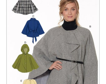 McCall's M7477 Misses' Hooded, Collared or Collarless Capes, and Belt Sewing Pattern