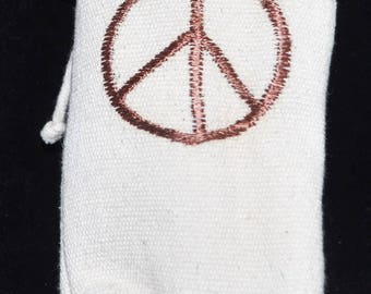White Peace Sign Canvas Pouch