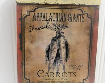 Farmhouse Carrots Kitchen Hanging Wall Sign decor