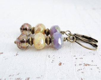 Lavender Earrings Purple Czech Glass Dangles Smoky Lilac Metallic Bronze Cashmere Glass Earrings Small Boho Style Earrings Gift For Her