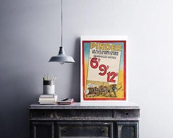 Vintage Pinder circus poster   industrial decor, children room