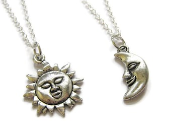 2 Sun And Moon Best Friends Necklaces BFF