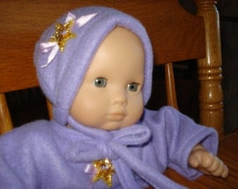 Orchid  purple Snuggle Sleeper and Hat for 15 inch like Bitty Baby Doll