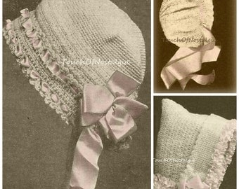 4 FANCY Baby BONNETS Antique Crochet Patterns - 4 Beautiful Styles Included - Ribbon Laced/Easter Bonnet ChristeningBaptism SpecialOccasion