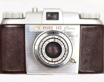 Vintage 1950's Kodak Pony 135 Camera Model C with Original Kodak Leather Field Case, 44mm Lens