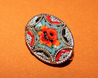 Beautiful vintage Micro Mosaic on silver mount Italian Brooch