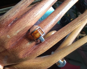 Vintage Modern Sterling Silver and Amber Ring. Size 8