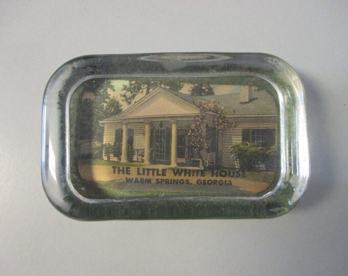 "4.25"" x 2-5/8"" Glass Block Paperweight, LITTLE WHITE HOUSE Warm Springs Georgia"