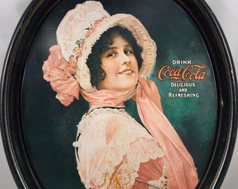 Betty Girl Oval Coca Cola Tray 1972 Reproduction of the 1914 Betty Girl Coke Tray