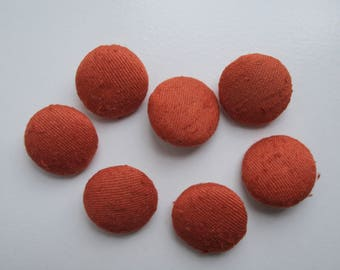 VINTAGE Covered Buttons Rust Orange Size 1 1/4 inches