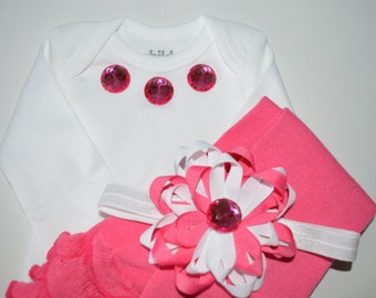 Newborn Pink Onesie with Legwarmers and Headband