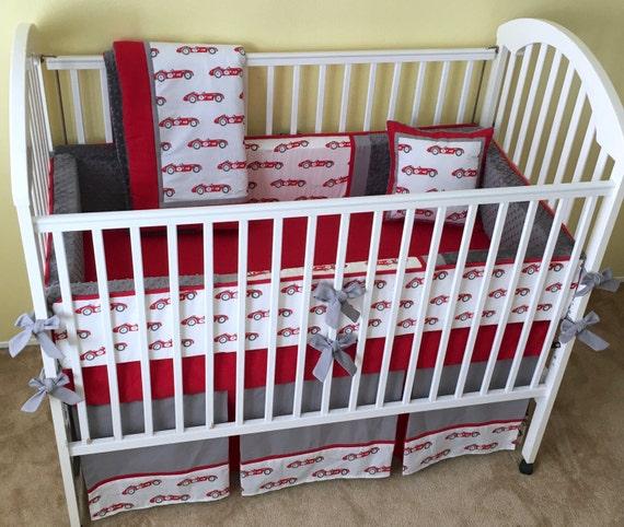 Vintage Race Cars 4pc Baby Crib Bedding Set Baby Boy Crib