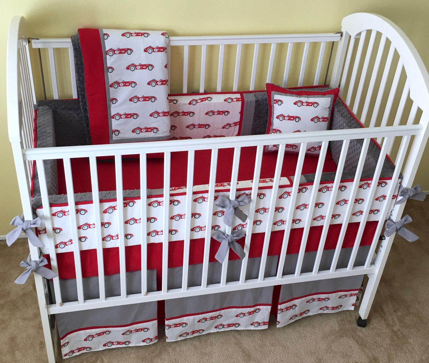 Vintage Race Cars 4pc Baby Crib Bedding Set Baby Boy Crib