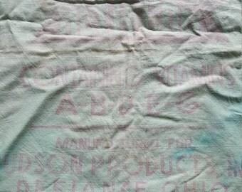 Vintage FULL Unopened Feed Sack Feedsack Fabric Material Aqua Mint Green