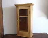 vintage apothecary cabinet, small glass front curio, bathroom storage, tabletop or wall decor, organizer, display shelves,