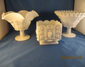 Lot Vintage WESTMORELAND Milk Glass PANELED GRAPE  Vases