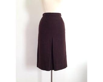 wool pencil skirt / brown wool skirt / highwaisted 70s skirt winter clothes women 70s clothing small