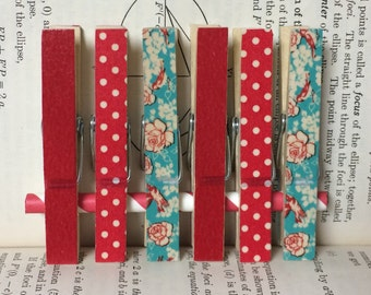 Red and Turquoise Clothespins, Decorated Clothespins, Photo Clips