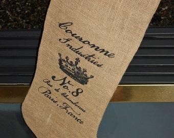 Crown Burlap Stocking FLASH Sale FREE shipping in USA